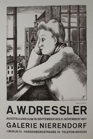 Lithograph Dressler - Frau am Fenster