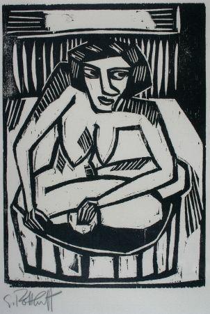 Woodcut Schmidt-Rottluff - Frau in der Wanne (Woman in Bath)