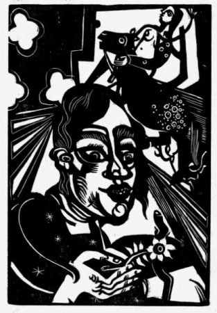 Woodcut Campendonk - Frau mit Blume / Woman with Flower