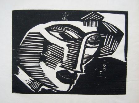 Woodcut Schmidt-Rottluff - Frauenkopf (Woman's Head)