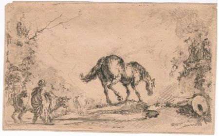 Etching Della Bella - Free Horse, from