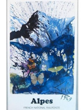 Poster Dali - FRENCH RAILWAYS LES ALPES