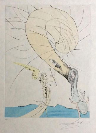 Etching Dali - Freud with Snail Head