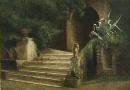 Mezzotint Ilsted - From the Garden of Villa d'Este