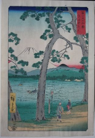Woodcut Hiroshige - Fuji on the left of the Tokaido