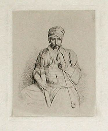 Etching Gérôme - Fumeur égyptien au turban