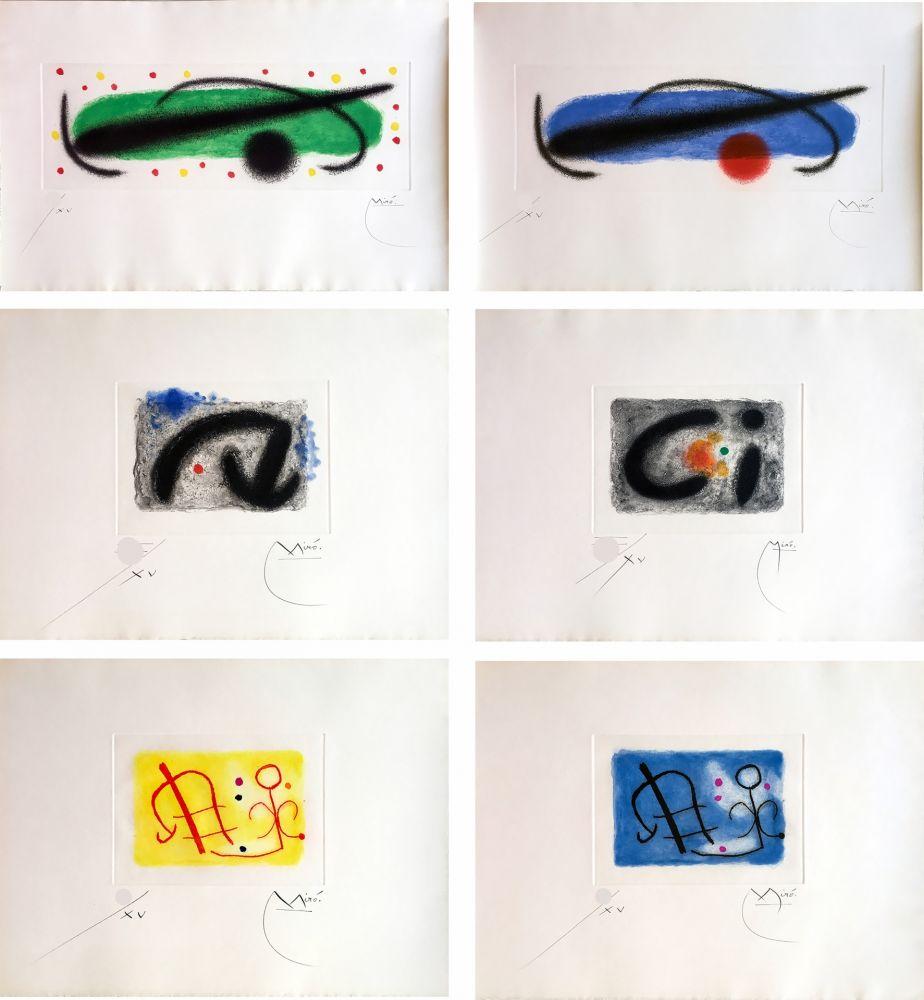 Etching And Aquatint Miró - FUSÉES. LA SUITE COMPLÈTE DES 15 AQUATINTES SIGNÉES (BRODER 1959).