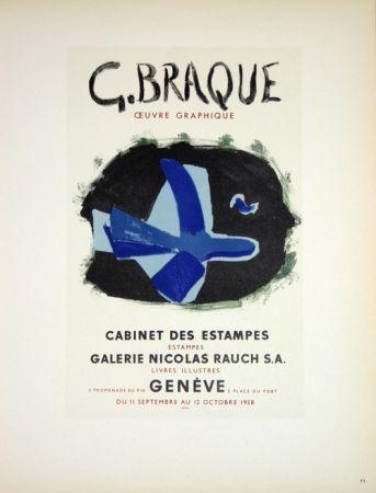 Lithograph Braque - G. Braque  Oeuvres Graphiques Nicolas Rauch  Genéve  1958