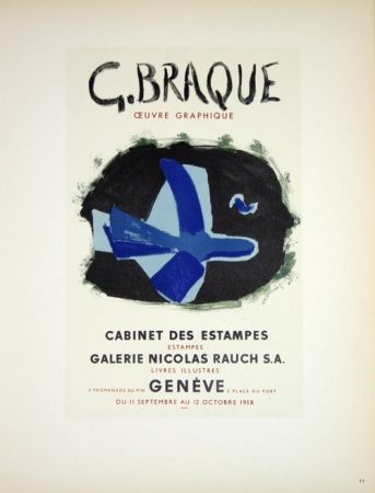 Lithograph Braque - G. Braque  Oeuvres Graphiques Nicolas Rauch  Genéve  1958