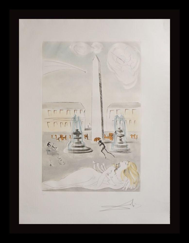Etching Dali -  Gala et L'Obelisque de la Concorde