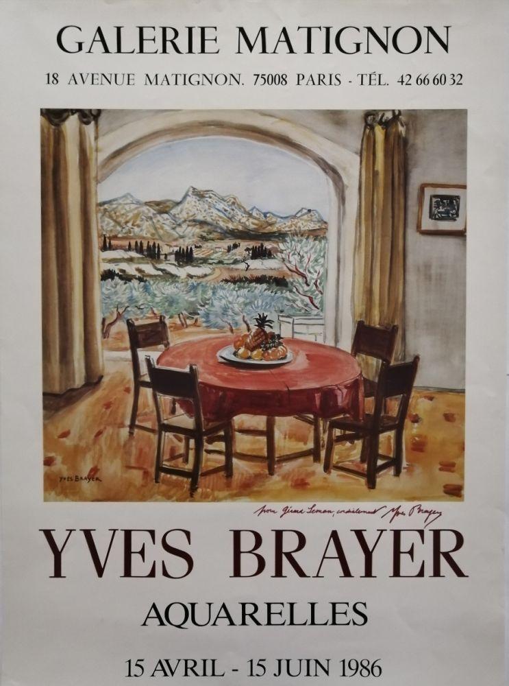 Poster Brayer - Galerie Matignon - 1986 - Aquarelles