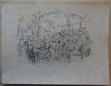 Engraving Foujita - Garden Party
