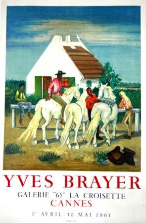 Lithograph Brayer - Gardians en Provence Exposition Cannes 1961