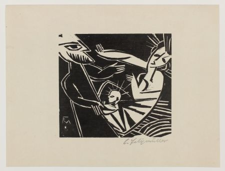 Woodcut Felixmuller  - Geburt (Birth)