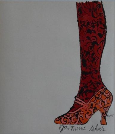 Lithograph Warhol - Gee, Merrie Shoes (Red)