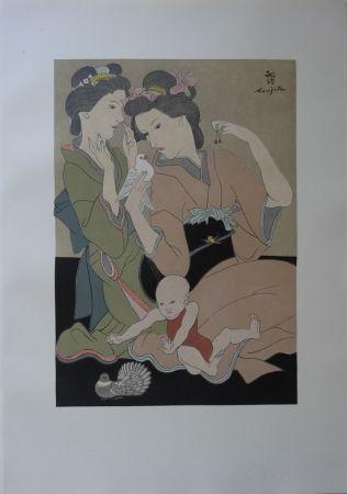 Woodcut Foujita - Geishas à la colombe