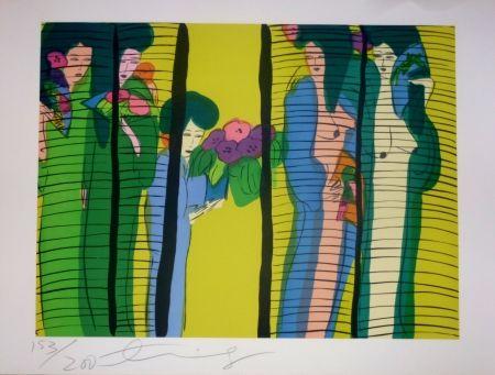 Lithograph Ting - Geishas et fleurs