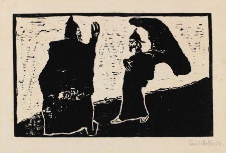 Woodcut Nolde - General und Diener (General and Servant)
