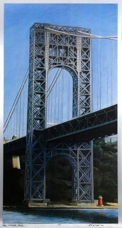Lithograph Haas - George Washington Bridge