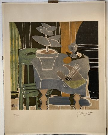 Lithograph Braque - Georges Braque (1882-1963) Nature morte à la palette, 1960.