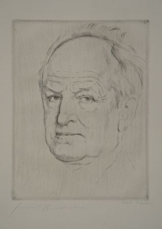 Engraving Orlik - Gerhart Hauptmanns Bildnis