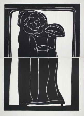 Linocut Hernandez Pijuan - Gerro Amb Flors / Vase With Flowers