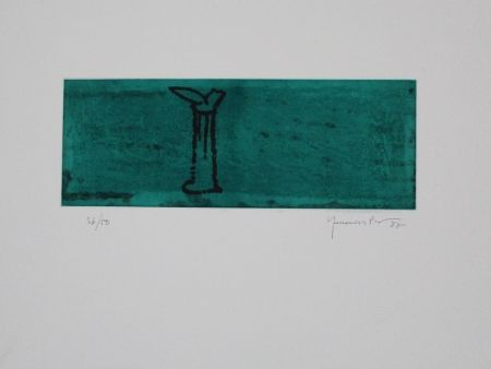 Aquatint Hernandez Pijuan - Gerro i flor sobre verd / Vase and Flower on Green