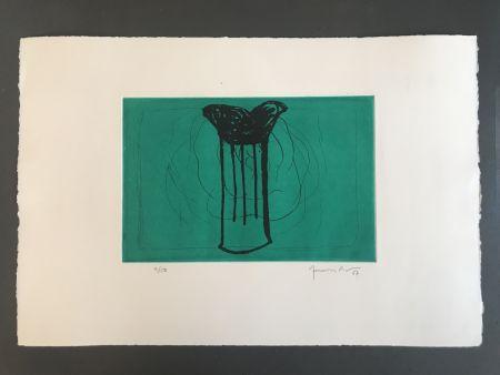Aquatint Hernandez Pijuan - Gerro sobre verd