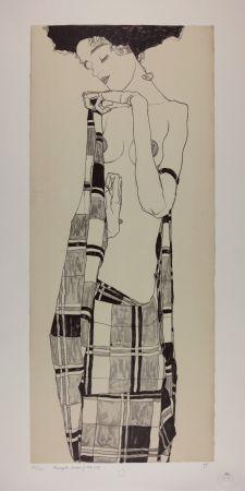 Lithograph Schiele - GERTI SCHIELE in a Plaid Garment, 1909 | Lithographie n° 1/40