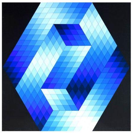 Screenprint Vasarely - Gestalt Blue