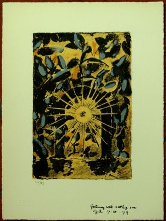 Lithograph Sutherland - GETEWAY WITH SETTING SUN
