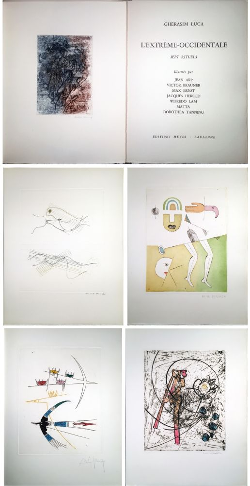 Illustrated Book Ernst - Gherasim Luca : L'EXTRÊME-OCCIDENTALE. Gravures de Max Ernst, Victor Brauner, Dorotea Tanning, Hans Arp, Jacques Hérold, Wifredo Lam, Roberto Matta.