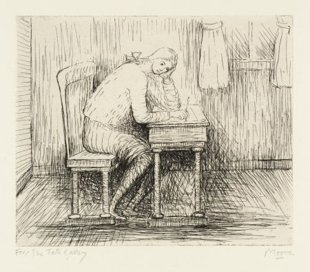 Etching Moore - Girl Doing Homework I