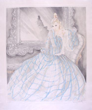Engraving Icart - Girl in Crinoline - Miroir de Venise