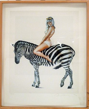 Lithograph Ramos - Girl on A Zebra