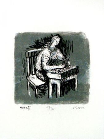 Lithograph Moore - Girl Seated at Desk V