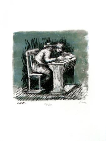 Lithograph Moore - Girl Seated at Desk VI