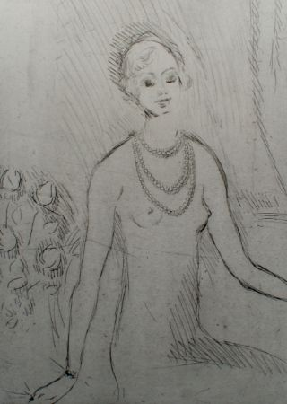 Etching Van Dongen - Girl with a pearl necklaces