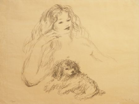 Lithograph Vertes - GIRL WITH DOG