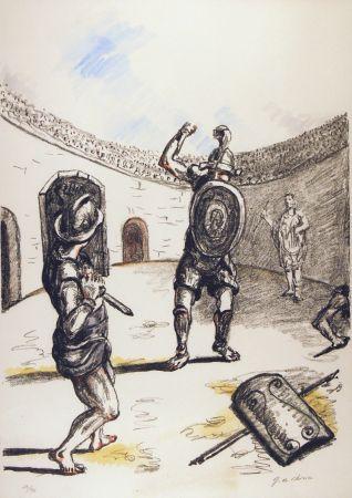 Lithograph De Chirico - Gladiatori nell'arena