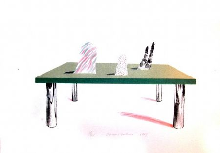 Lithograph Hockney - Glass Table with Objects