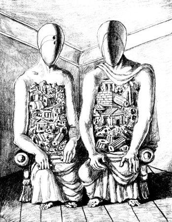 Lithograph De Chirico - Gli Archeologi V