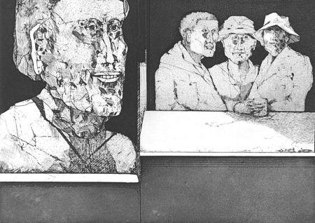 Engraving Plattner - Gli uomini bevono il vino del primo freddo