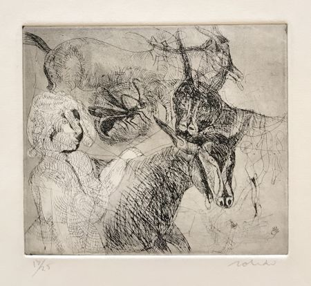 Etching Toledo - Goats with Woman