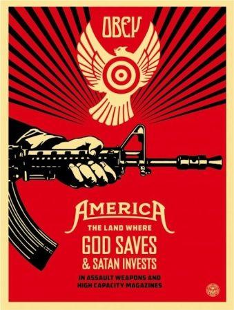 Screenprint Fairey - God Saves and Satan Invest
