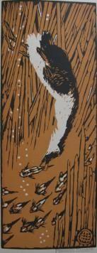 Woodcut Méheut - Gode chassant