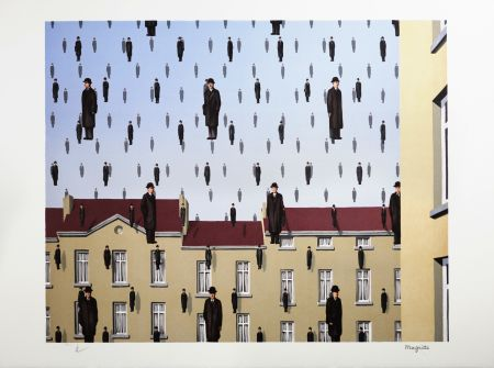 Lithograph Magritte - Golconde