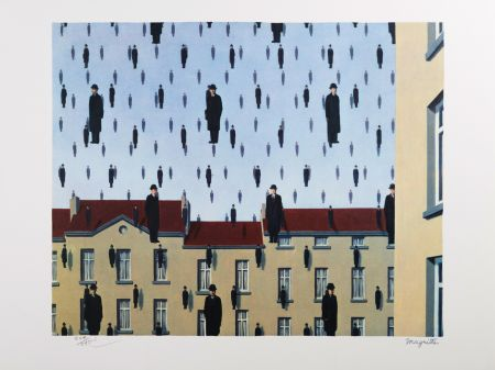 Lithograph Magritte - Golconde (Golconda)