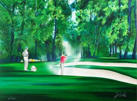 Lithograph Spahn - Golf