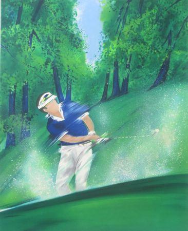 Lithograph Spahn - Golfeur bleu
